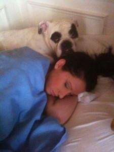 """Duke and Kari: sleeping """"dawgs""""."""
