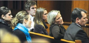 The Vantrease Family at the criminal trial. Bob Vantrease is far right.
