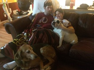 Sue and the dogs with Ryan during the Super Bowl.