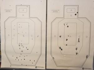 Left: 9mm at 50 feet. Right: 12 Gauge smooth bore Shotgun at 75 feet.